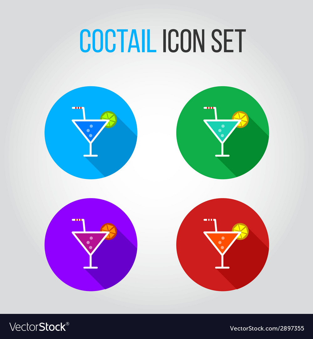 Icon set of fresh coctails with lime and orange