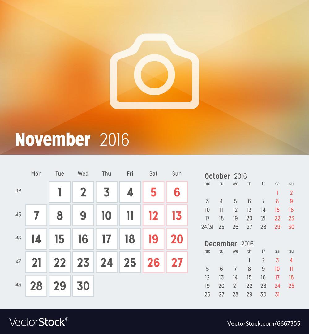 november 2016 desk calendar for 2016 year design vector image