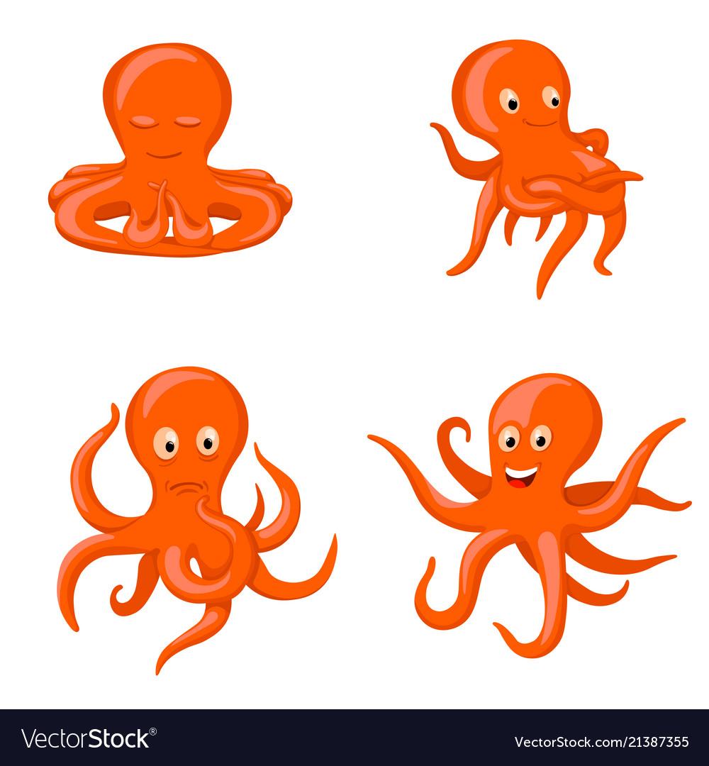 Octopus emotional characters emoji drawings