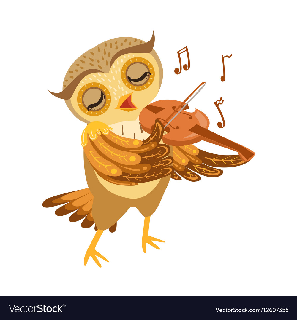 Owl Playing Violin Cute Cartoon Character Emoji