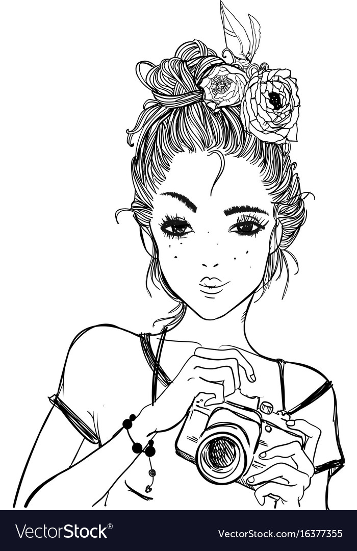 Portrait of a young woman with camera vector image