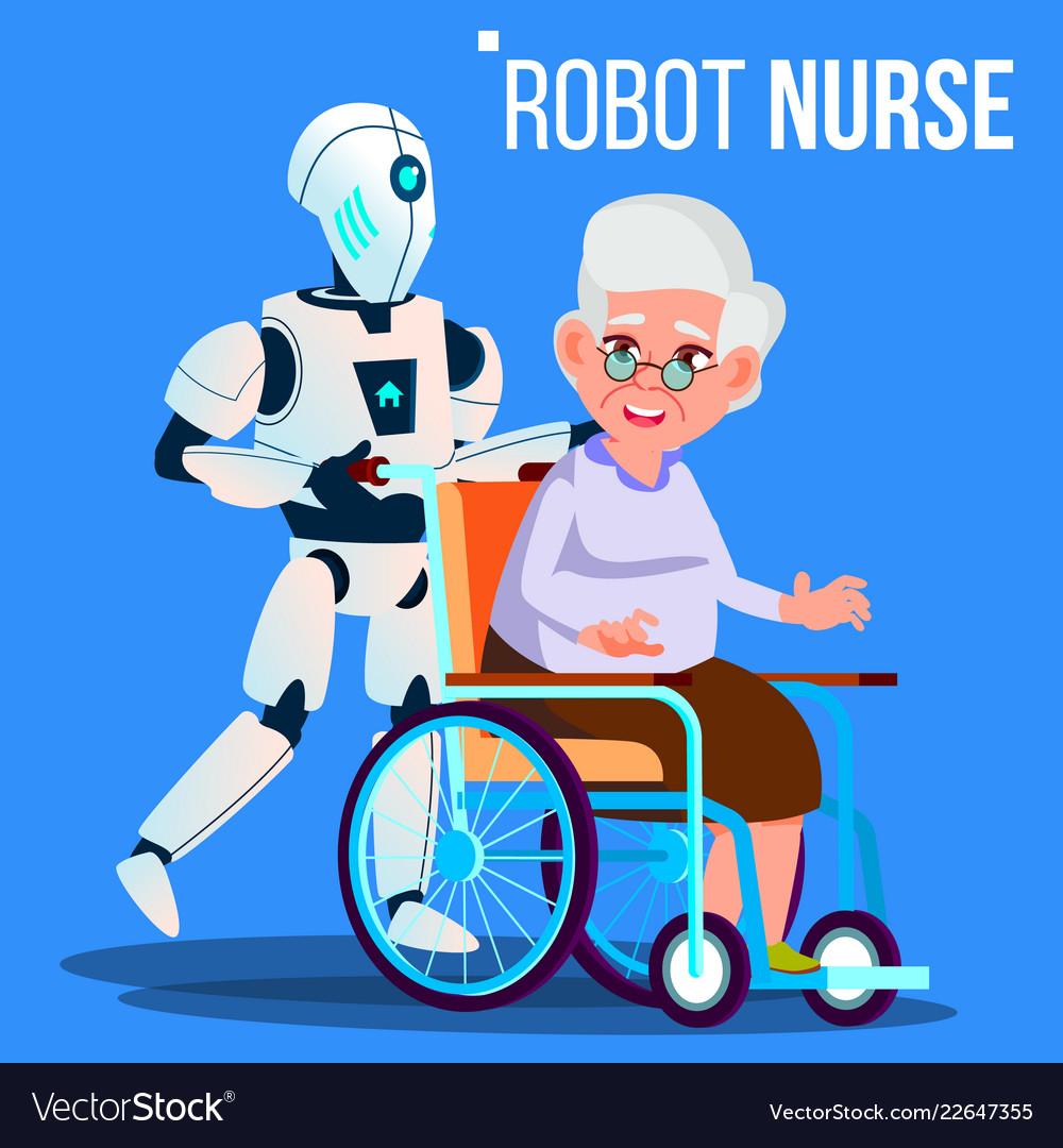 Robot nurse rolling wheelchair with elderly woman