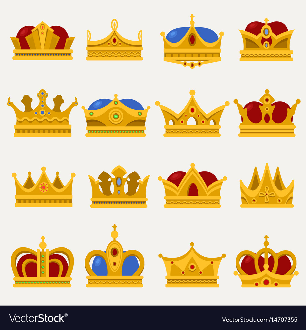 Set Of Royal King Or Prince Crown Pope Tiara Vector Image