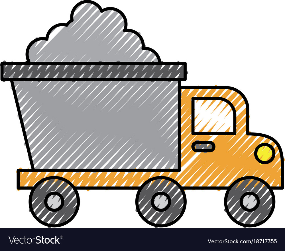 Tipper truck construction with cement material vector image