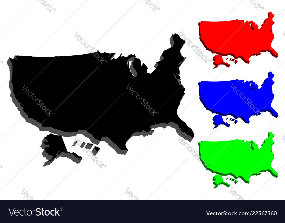 Map Of America 3d Vector.3d Map Of Usa