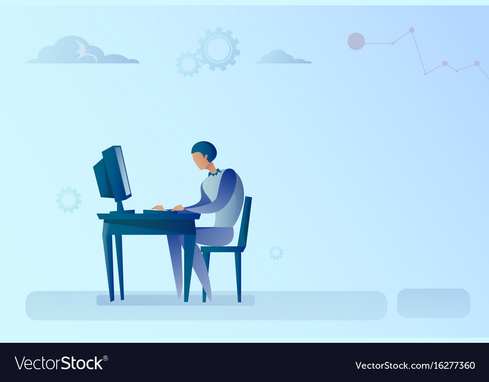 Surprising Abstract Business Man Sitting At Office Desk Download Free Architecture Designs Embacsunscenecom