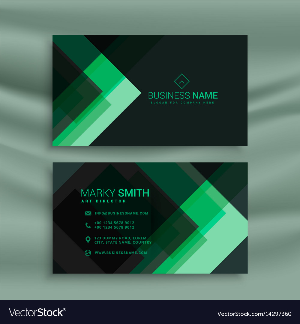 Abstract green dark theme business card template vector image friedricerecipe Images