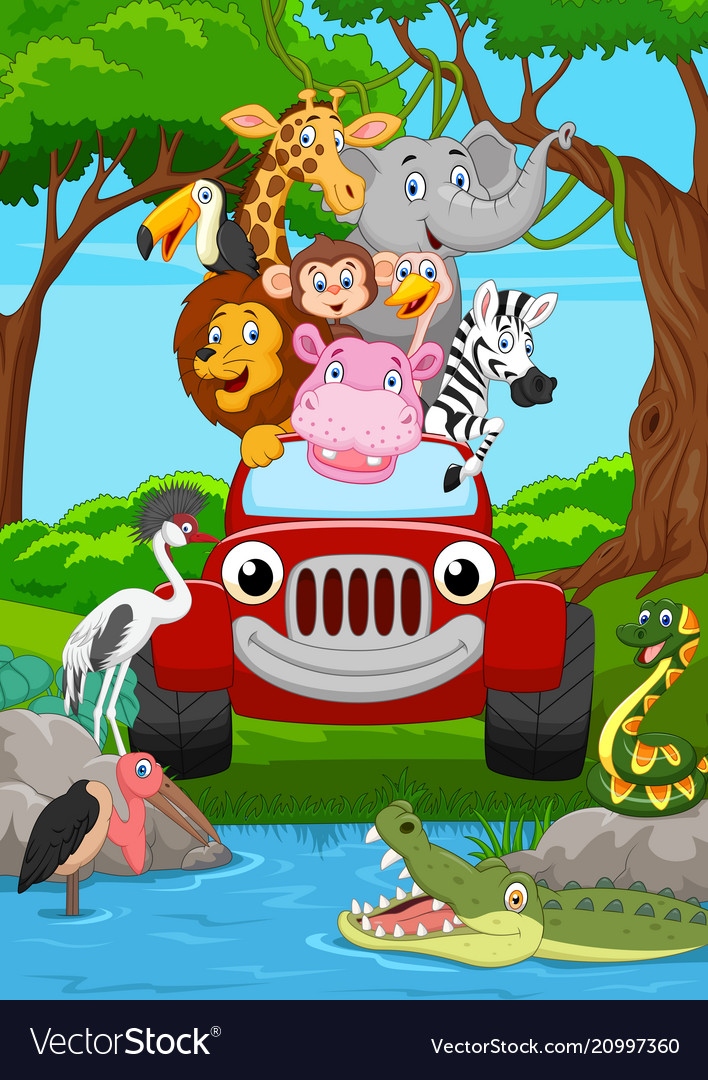 Cartoon wild animal riding a red car in the jungle