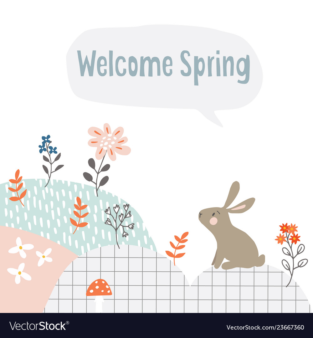 Cute easter web banner with white rabbit flowers