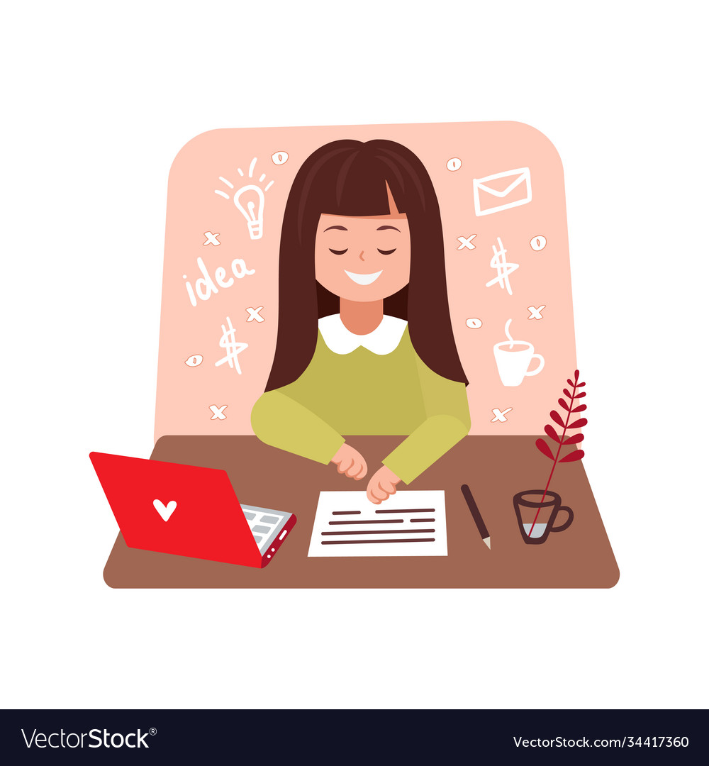 Cute girl works at a laptop