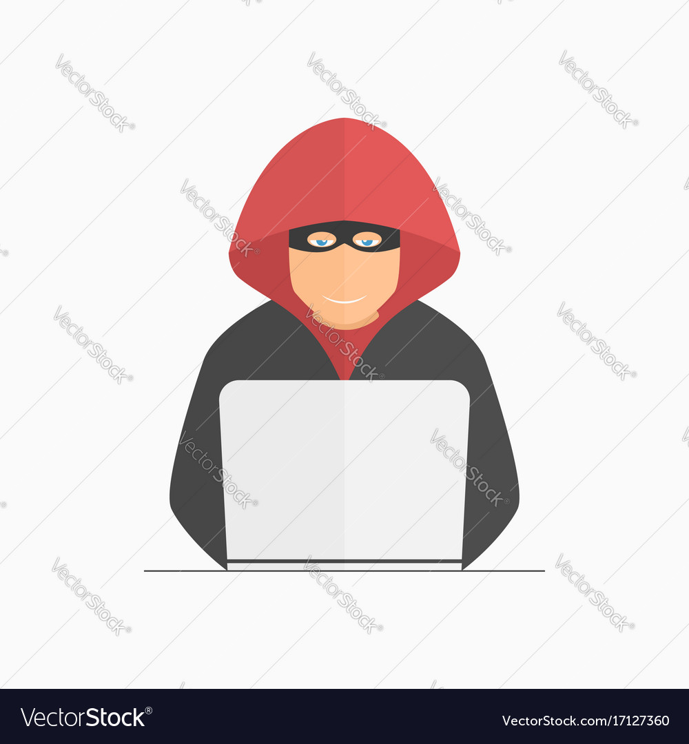 Hacker criminal in mask and hood with laptop