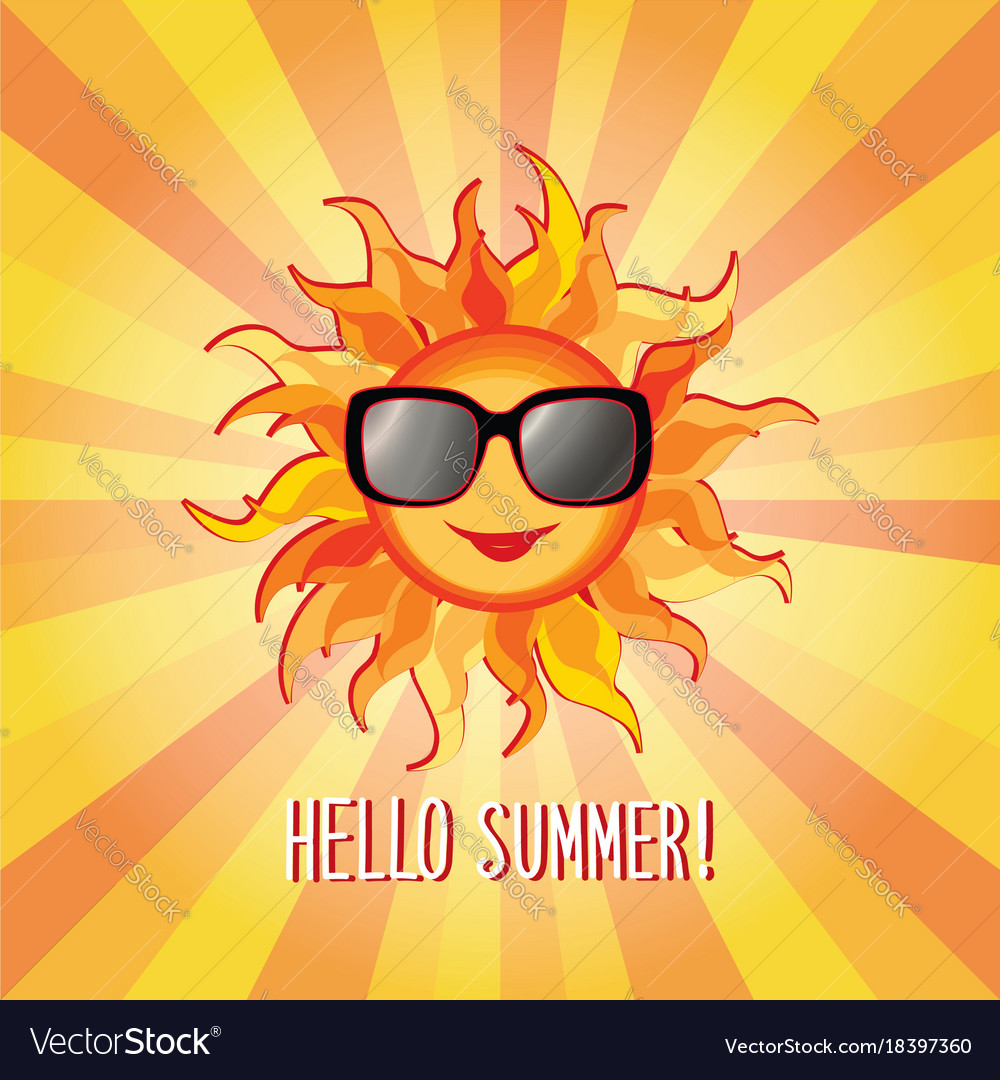 Hello summer background holidays cover sun beams