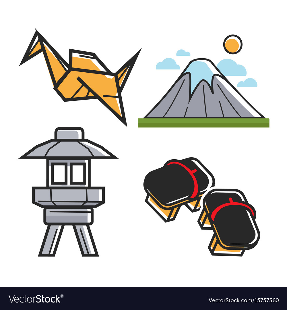 Japan Travel Symbols And Culture Or Famous Vector Image