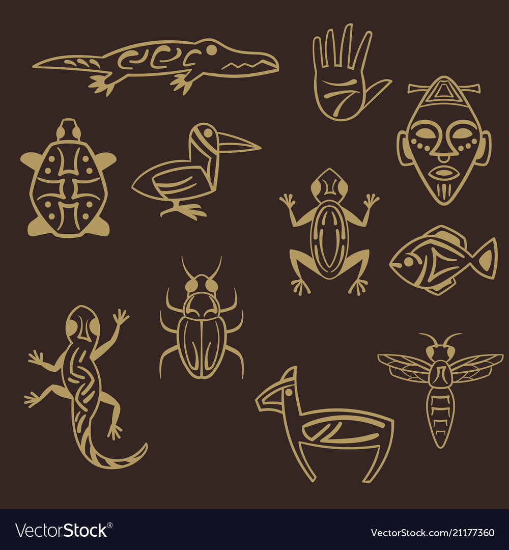 Set of stylized tribal african symbols vector image