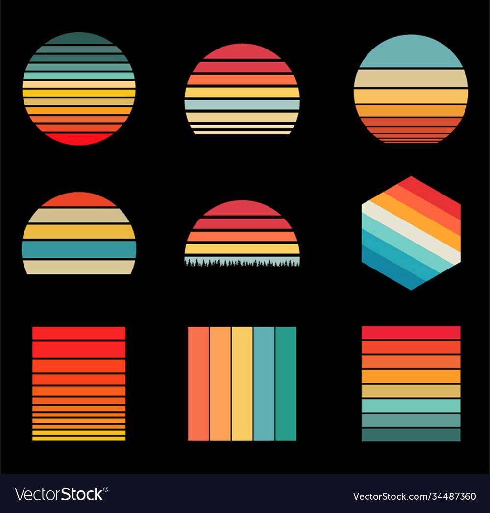 Sunset vintage retro styles design 9 items