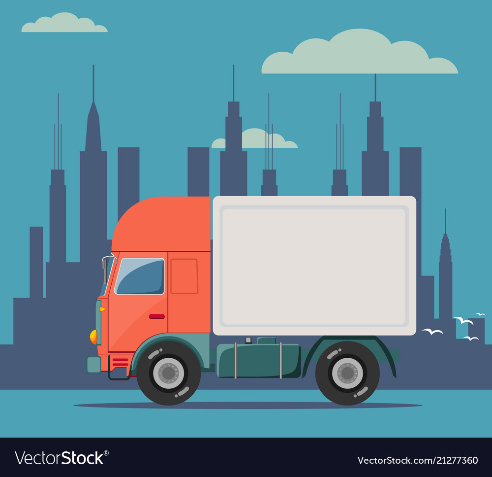 Truck delivery isolated on
