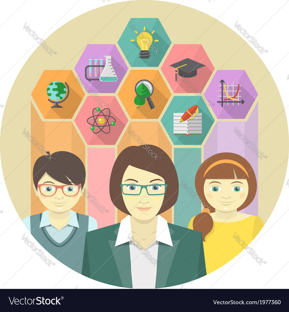Woman teacher and pupils with colored hexagons