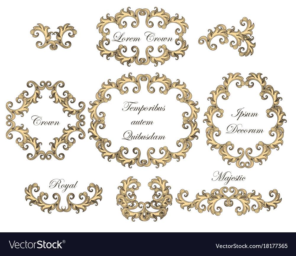 Baroque swirl frames set