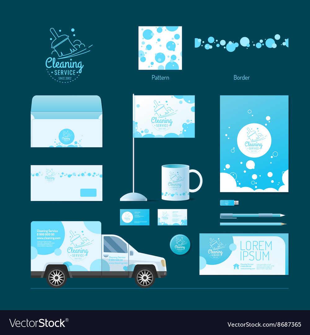 Corporate identity Cleaning service vector image