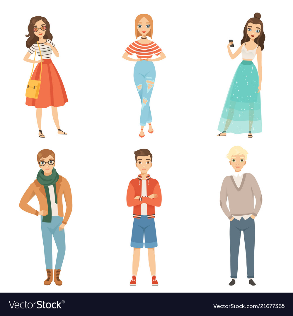 Fashionable guys and girls cartoon male and