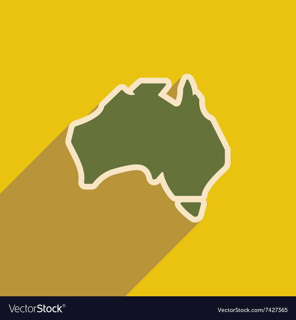 Flat icon with long shadow map of australia vector image gumiabroncs Images