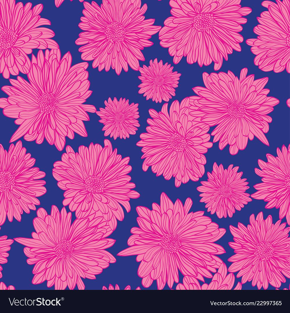 Floral background with hand drawn chamomiles