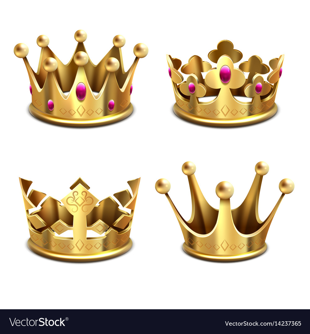 Gold 3d crown set royal monarchy and kings