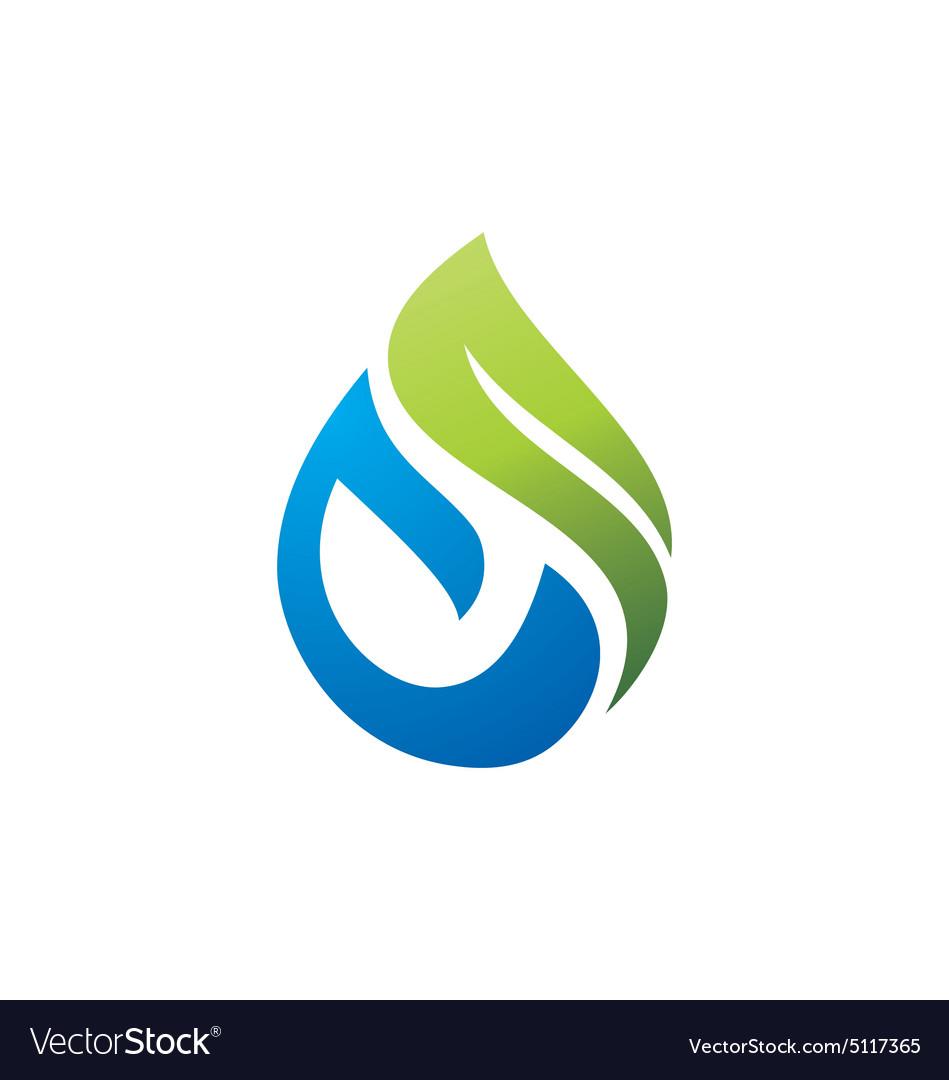 Green nature bio water logo