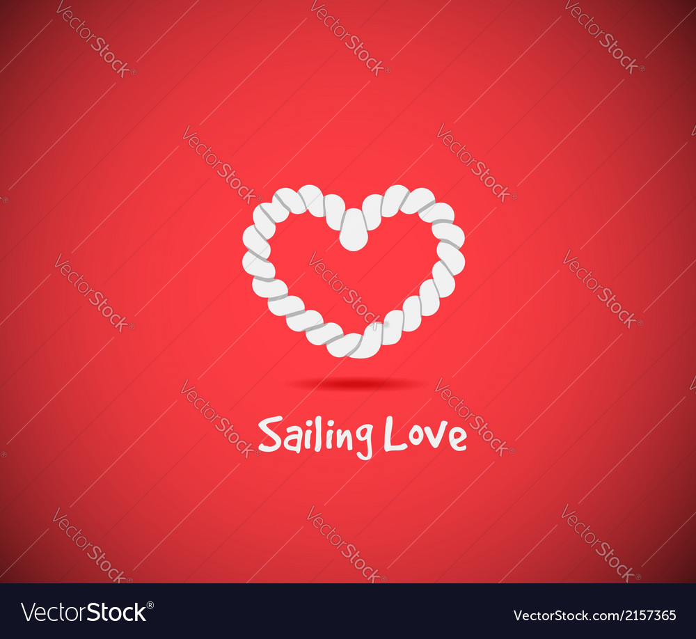 Heart shape rope knots set vector image