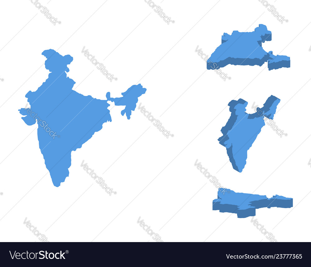 India isometric map country isolated on a white
