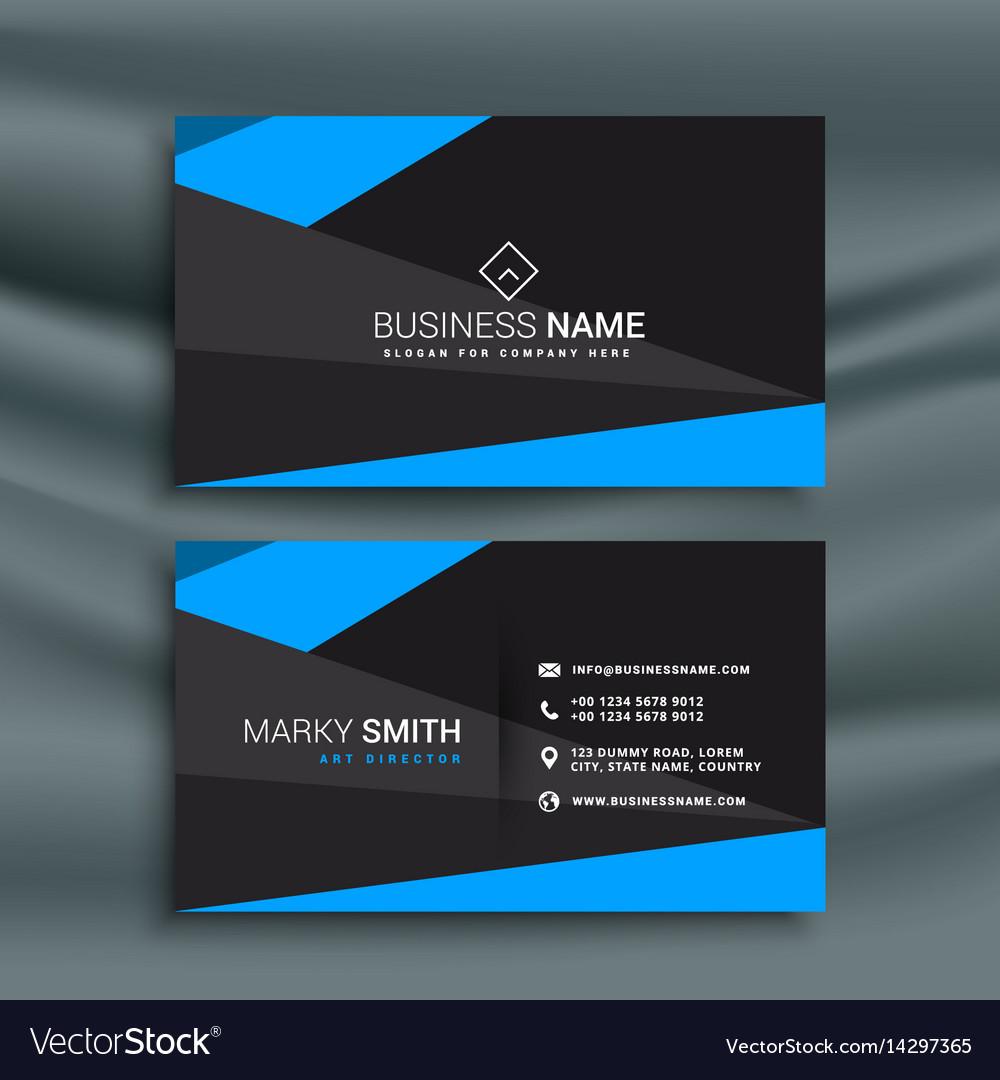Modern blue and black dark business card Vector Image