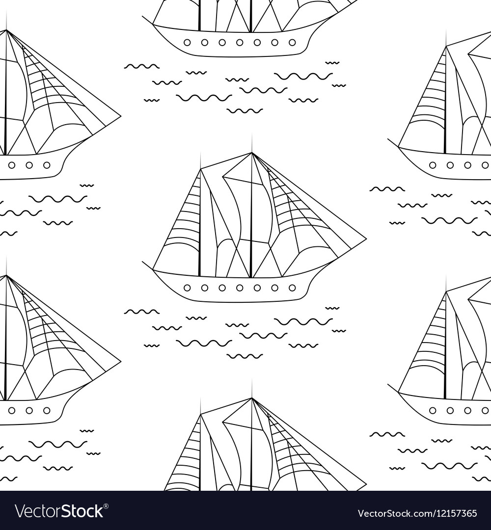 Sailing boat seamless outline pattern in