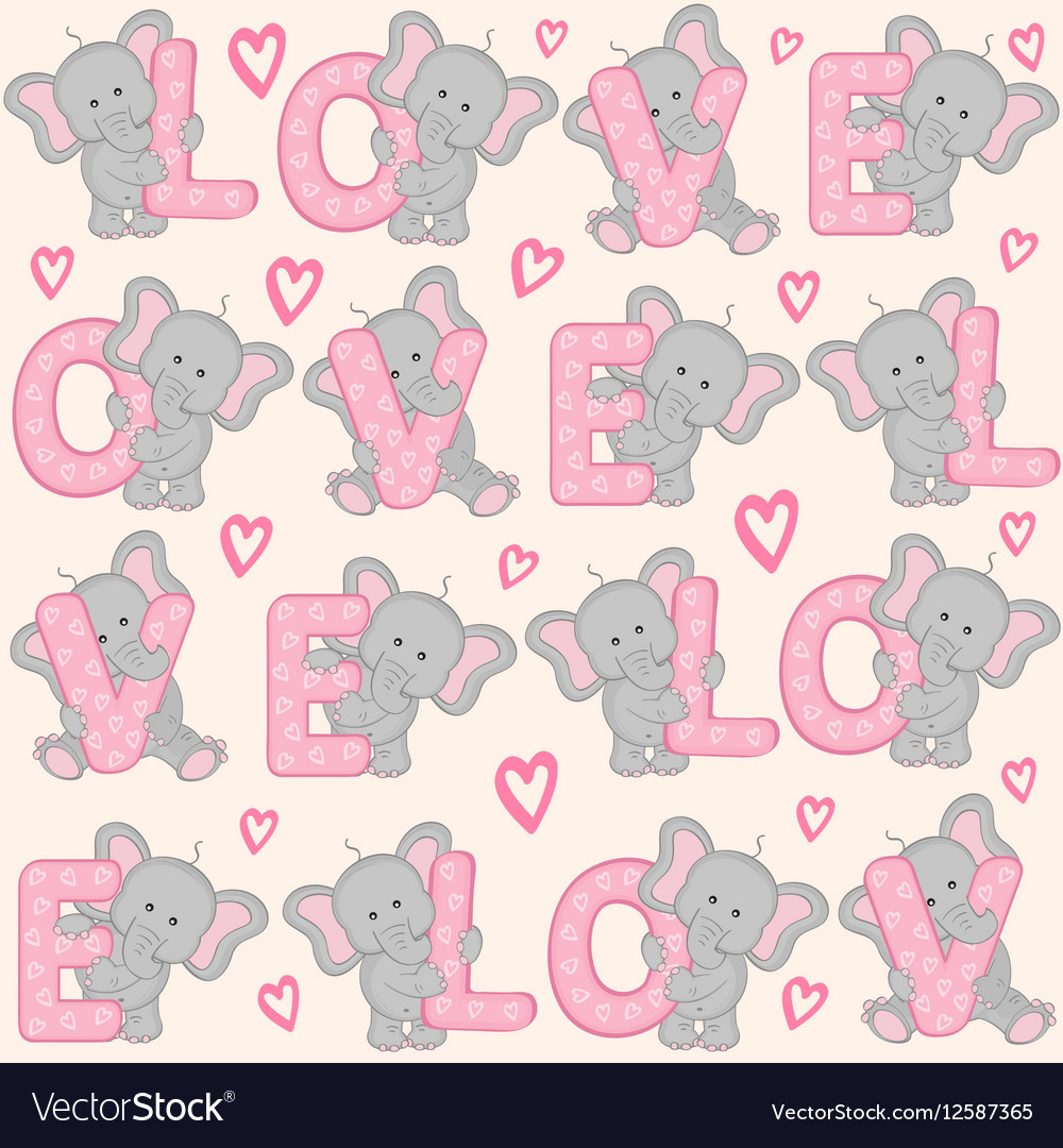Seamless pattern with cute valentine elephant