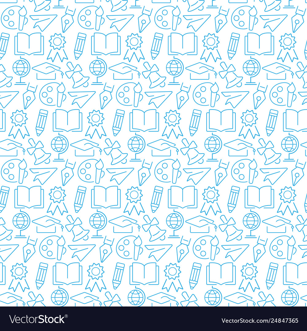 Seamless pattern with icons education items