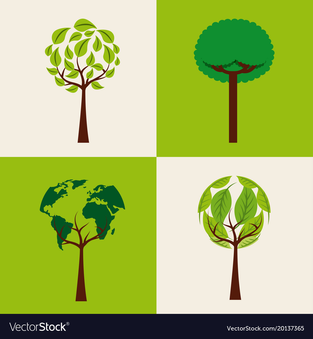 Set of trees ecology shape differents environment