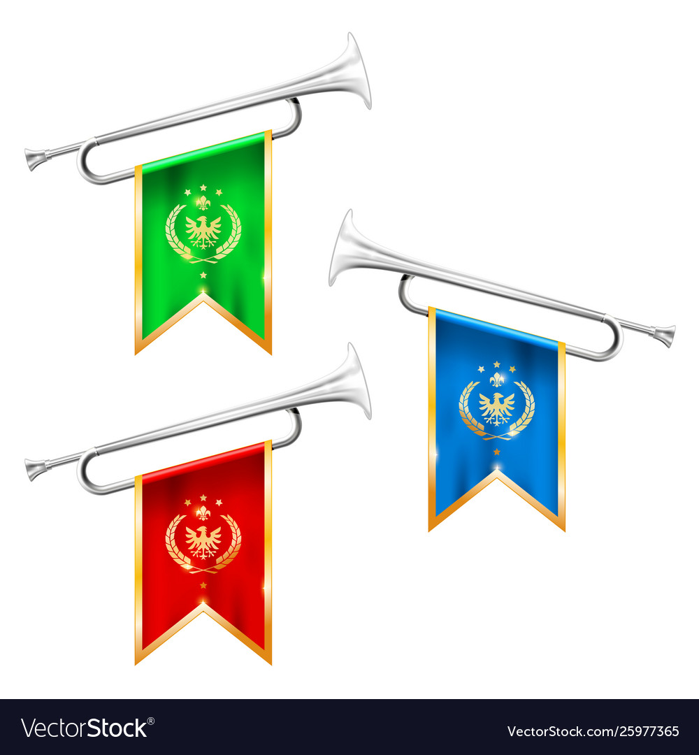 Silver trumpets with royal symbolics - fanfare