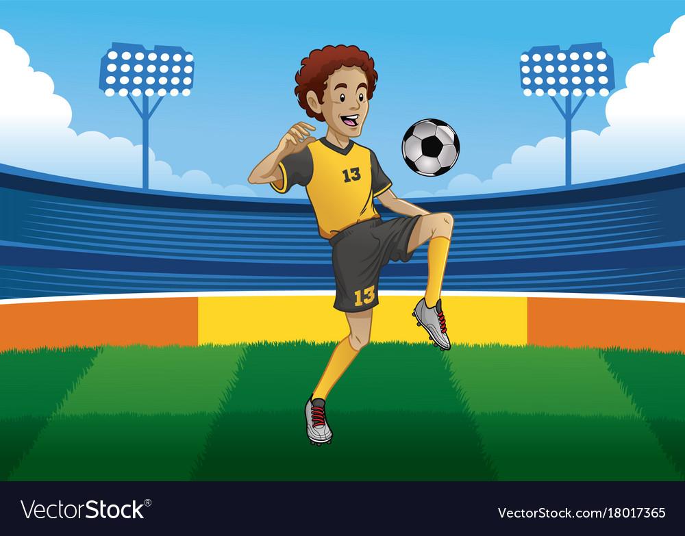 Soccer player juggling the ball in soccer stadium