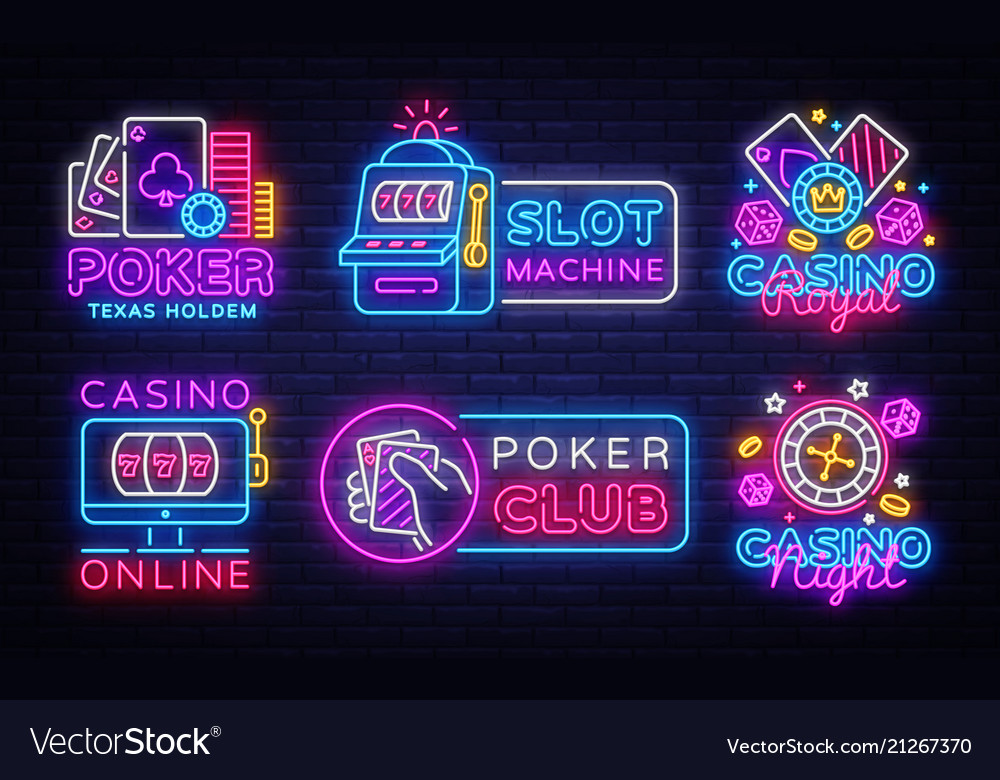 Big colletion neon sign casino logos and emblems