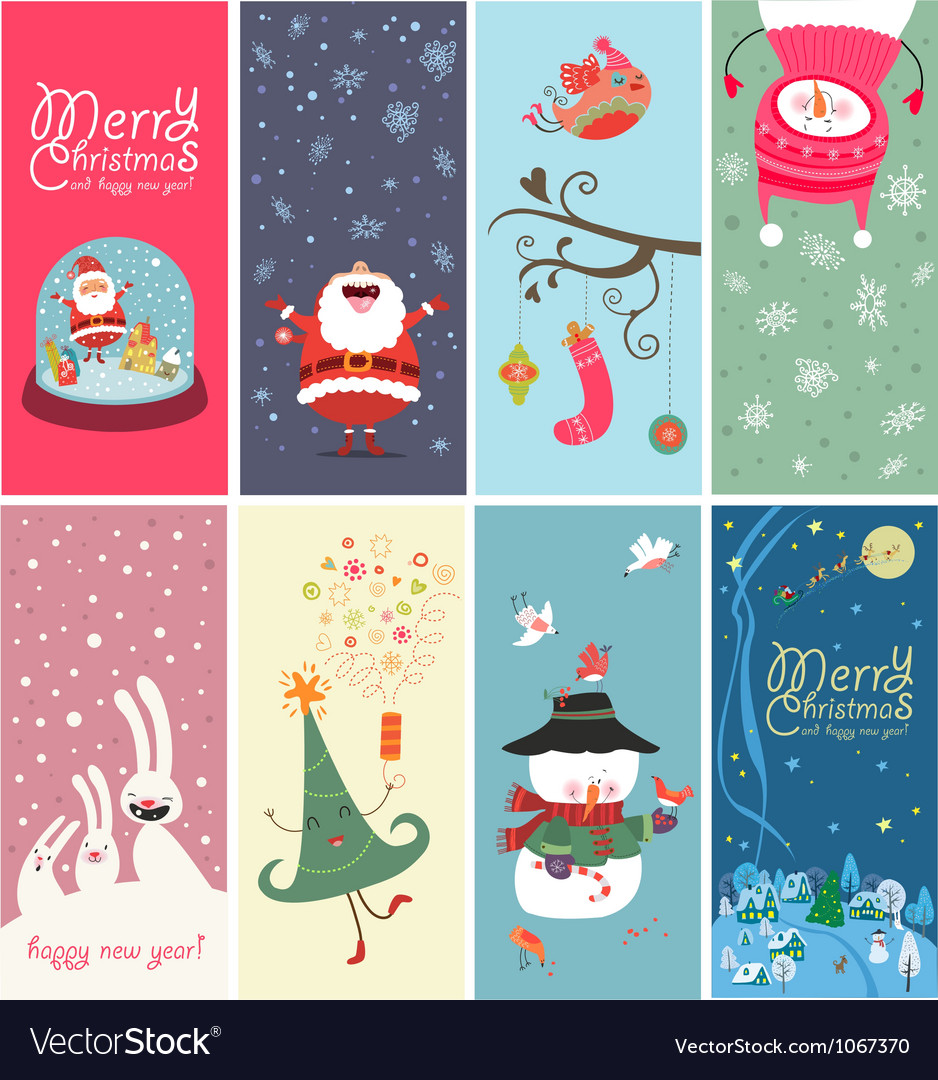 Christmas banner with funny characters vector image