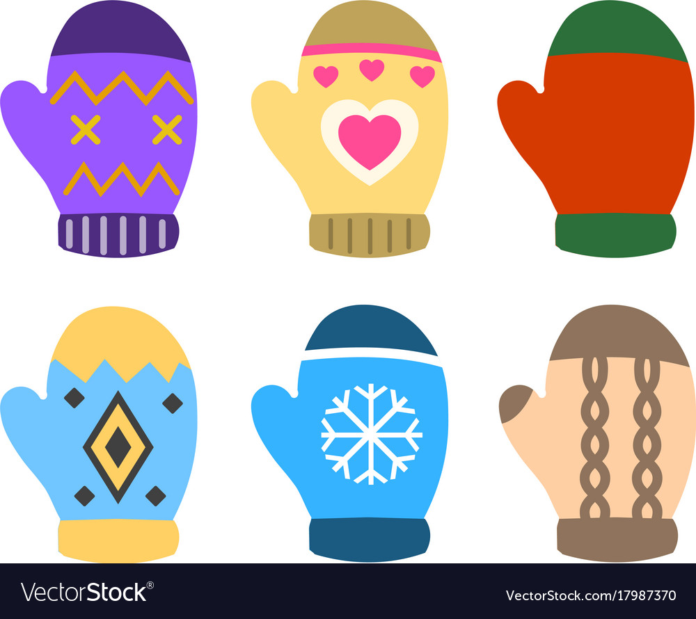 Collection of color mittens with bright geometric vector image