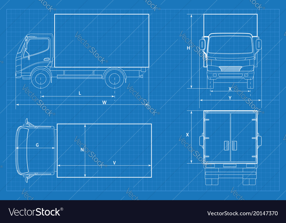 Delivery truck schematic or van car blueprint Vector Image