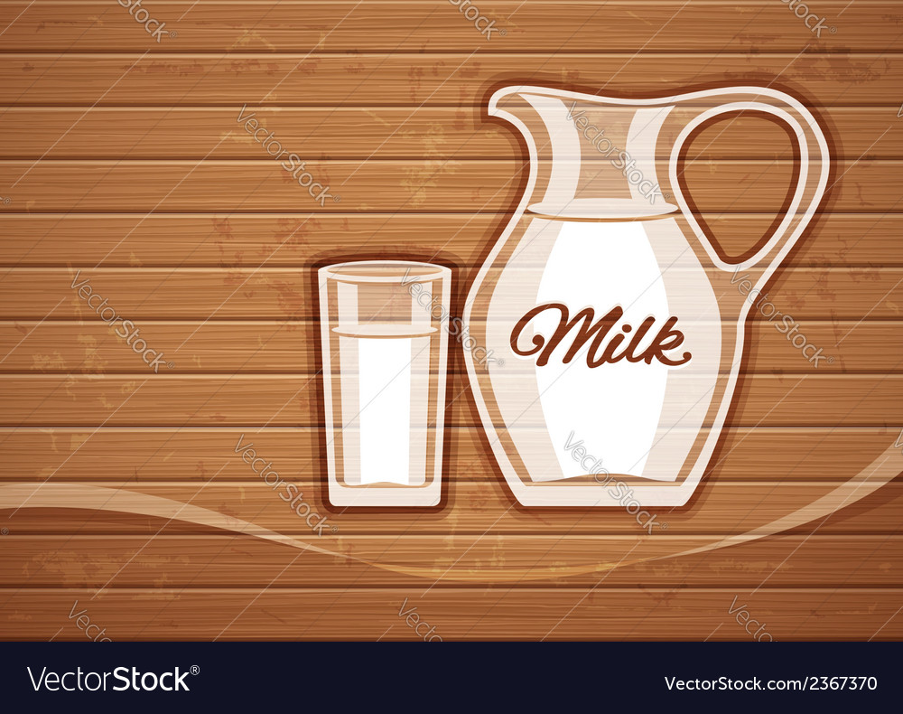 Jug and full glass with milk