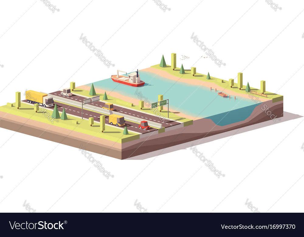 Low poly landscape with highway and river