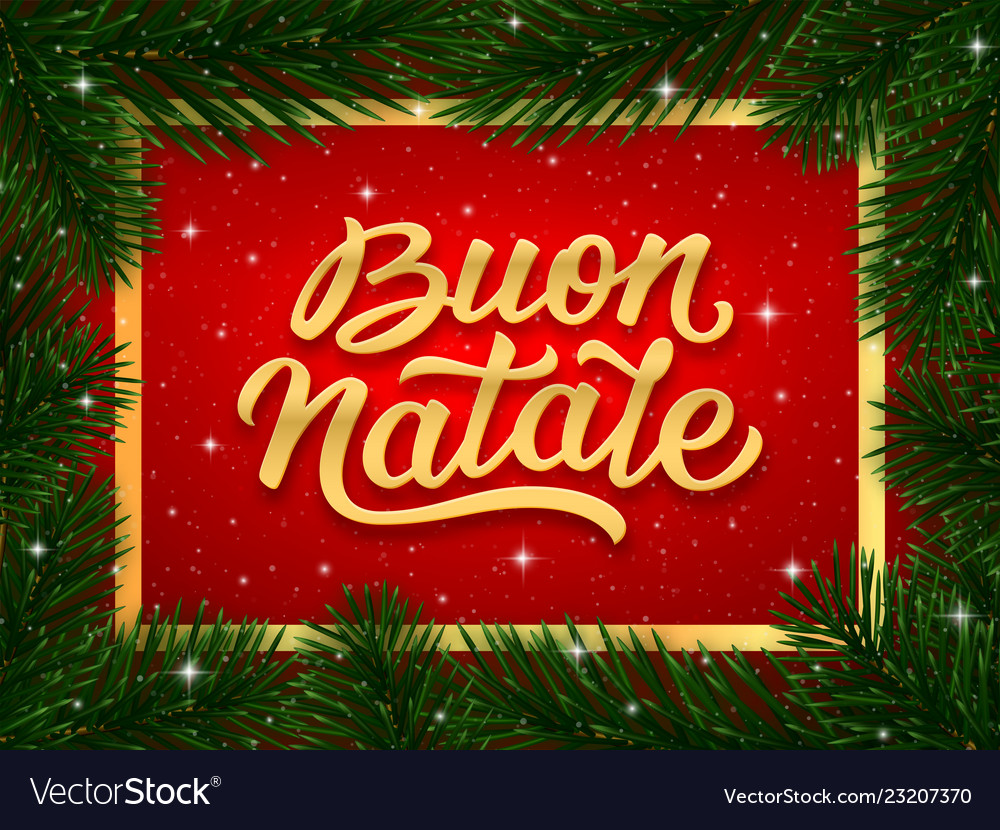 Merry Christmas In Italian.Merry Christmas Card Design With Italian Text