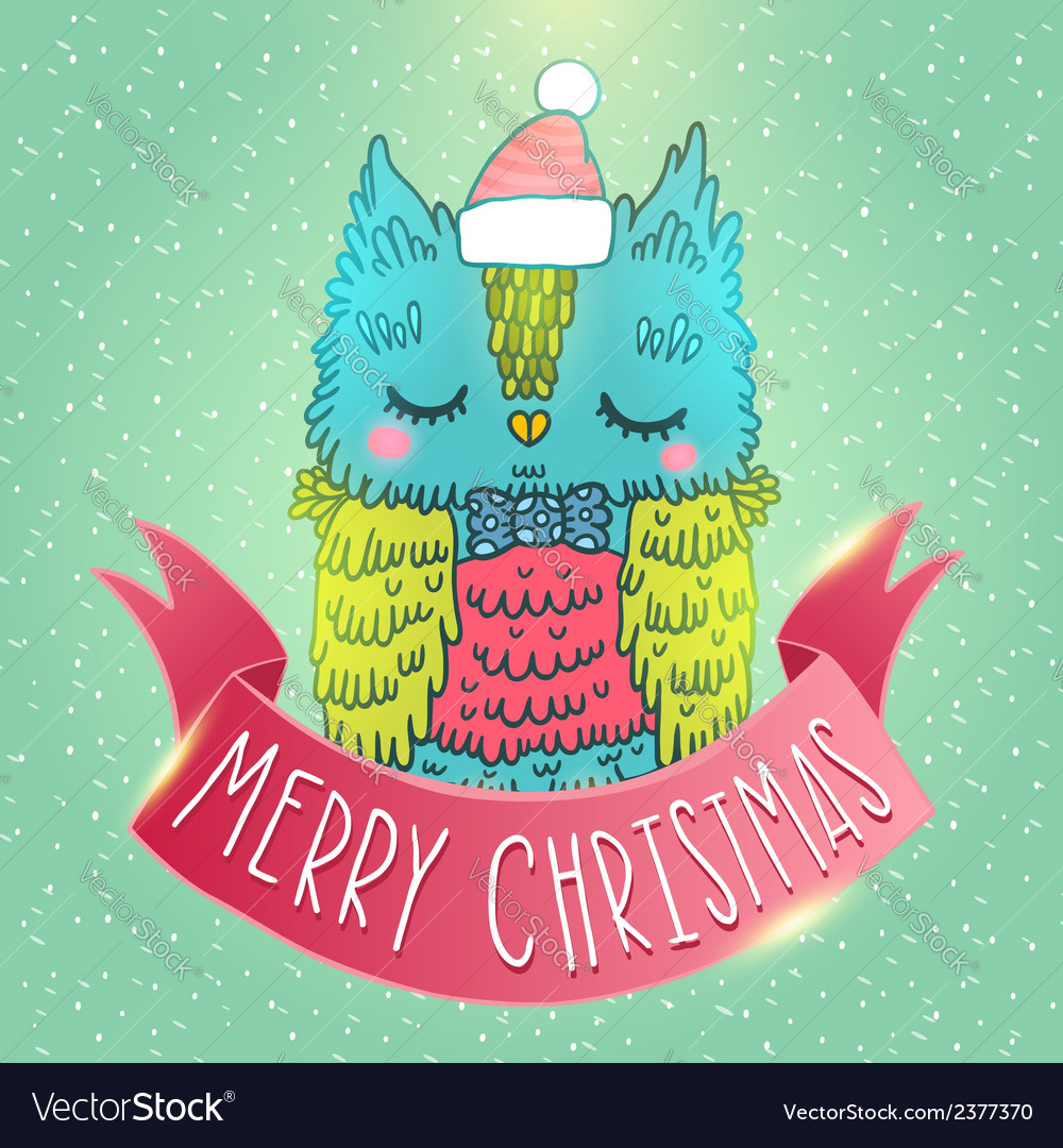Merry Christmas greeting background with an owl vector image