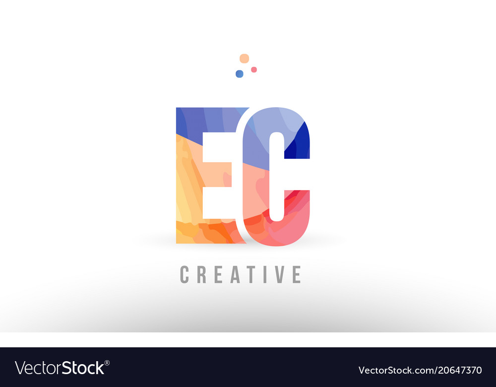Orange blue alphabet letter ec e c logo icon