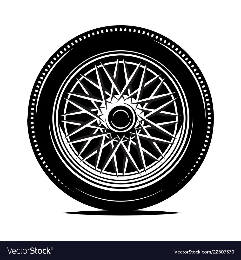 Retro Wheel Spokes For A Motorcycle Or Car Vector Image