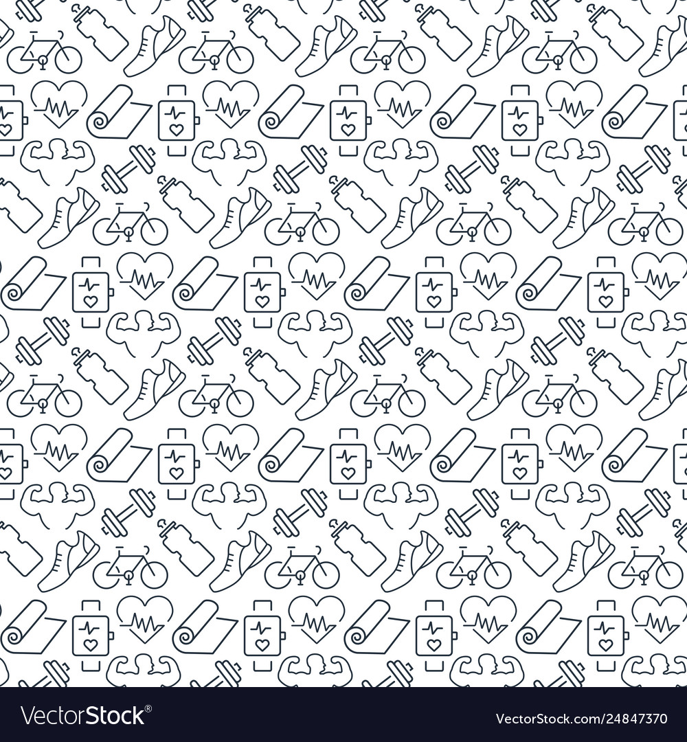 Seamless pattern with icons fitness items
