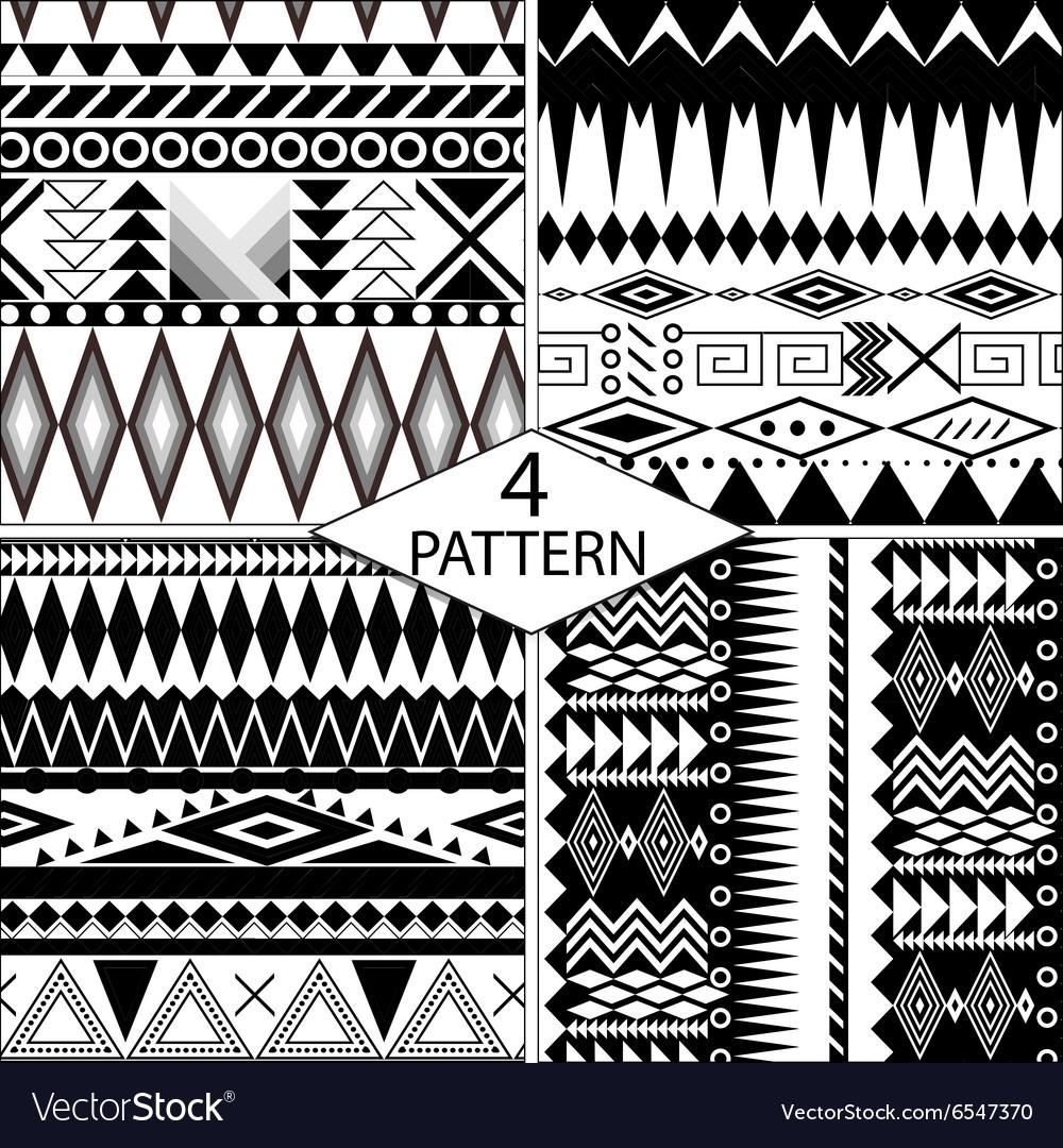 Set of black and white geometric seamless patterns