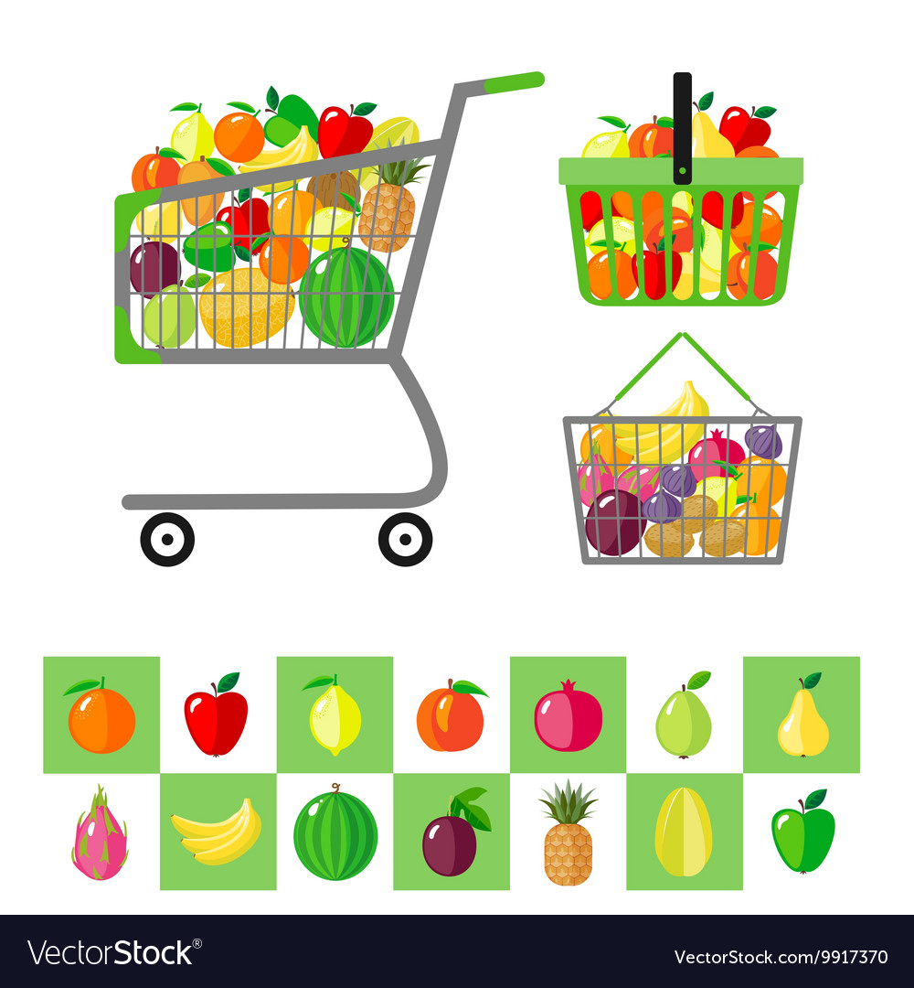 Shopping cart and shopping baskets with fruits